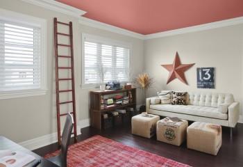 Если поверхность сверху решено выполнить в ярком цвете, то стены лучше окрасить в нейтральные тона