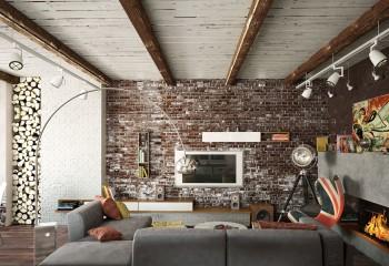 Белый цвет на кирпичной кладке и деревянной подшивке потолка придает поверхностям налет старины