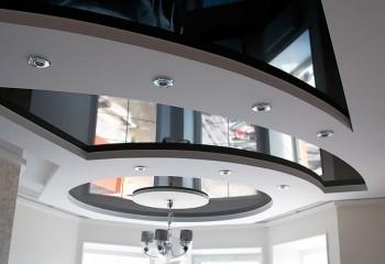 Абстракция на потолке, выполненная из гипсокартона