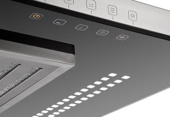 На фото - сенсорная панель управления на корпусе вытяжки