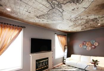 Неизгладимое впечатление оставляют потолки с фотопечатью