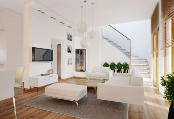 Вестибюль в двухэтажном коттедже с гипсокартонной подшивкой потолка и такими же перегородками