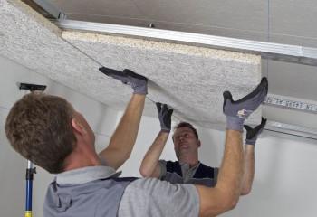Монтаж плит Шуманет под натяжной потолок