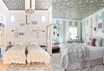Бумажные полотна в оформлении потолка спальни