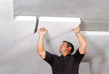 Утепление пенопластом потолка изнутри на клей