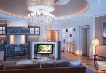 Дизайн гостиной, выполненный с помощью структурной штукатурки