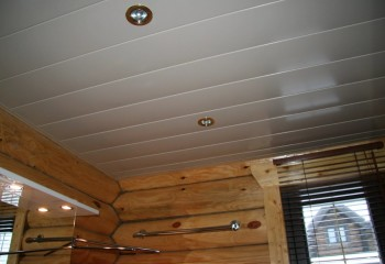 Потолок из пластика в деревянном доме