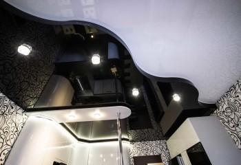 Функциональное зонирование помещения при помощи объемного контрастного потолка