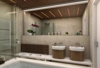 Реечный потолок в дизайне ванной комнаты