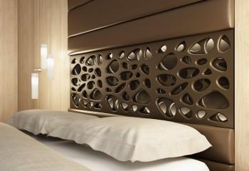 Декорирование спальни фрезерованными 3D панелями