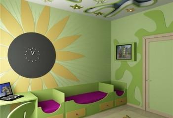 Криволинейный потолок в детской комнате из гипсокартона