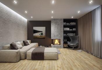 Контурный свет направлен не на потолок, а на стену