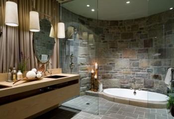 Точечная подсветка натяжного потолка в зоне душевой и ванны