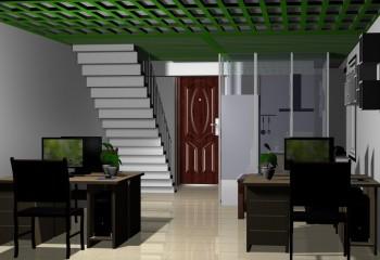 Интерьер с зеленым потолком