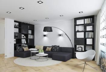Ряды квадратных встроенных светильников подчёркивают белизну потолка