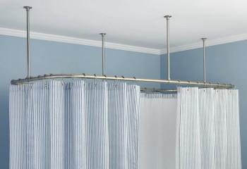 Островное крепление криволинейного варианта на удлинителях: вариант для высокого потолка