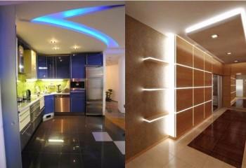 Дизайн подсветки потолка может быть самым различным