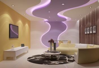 Оригинальная потолочно-стеновая конструкция с красивой внутренней подсветкой