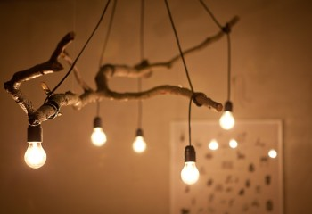 Потолочный светильник из коряги