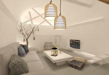 Пара светильников на разных уровнях, плюс декоративная подсветка фронтонной стены мансарды