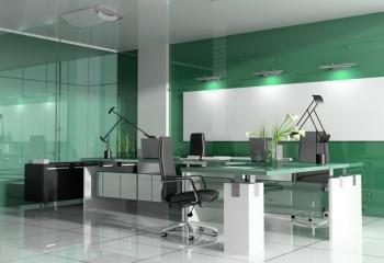Бело-зелёный офисный интерьер