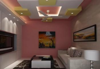 Двухцветная натяжная 3D-конструкция на фоне окрашенного цвет персика основания