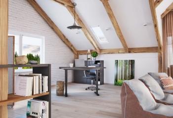 Стропильная система крыши тоже может участвовать в дизайне мансарды