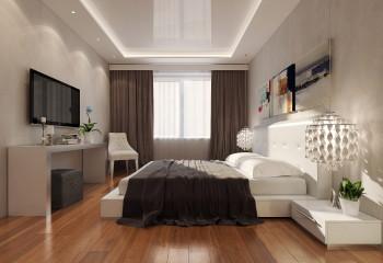 Глянцевый потолок в спальне встречается нечасто, но в конкретном случае он явно к месту