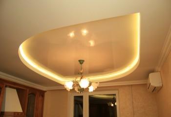 Натяжные потолки с освещением: люстра на натяжном потолке