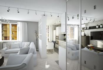 Комната, несмотря на большое количество мебели, напоминает фотостудию