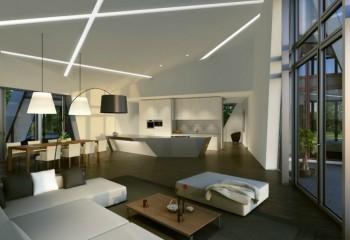 Строгий потолок с минимальным декором