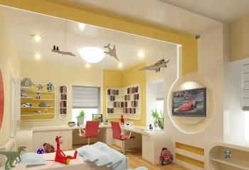 Учебная зона отделена от спальной подсвечиваемой по периметру аркой, на потолке накладные светильники