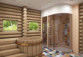 Натяжная потолочная конструкция удачно используется и в банных помещениях