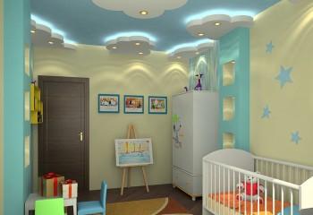 Для комнаты новорождённого дизайн потолка наиболее важен, так как ребёнок, лежащий в кроватке, только его и видит