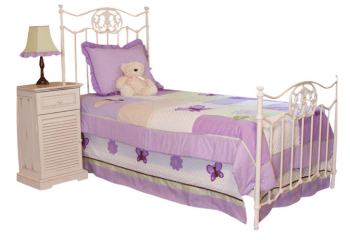 Кровать с аметистовым текстилем для шеби-шик
