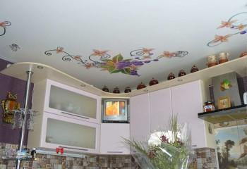 Фрукты и цветы – одна из тематик изображений для кухни, подчеркивающих назначение помещения