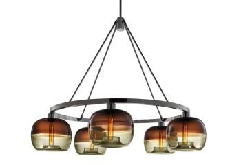 Подвесной светильник из стекла и металла