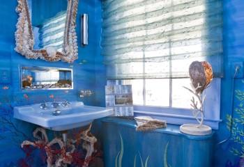 Художественная тематическая роспись в ванной