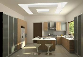 Потолок может иметь как криволинейные, так и строгие геометрические формы