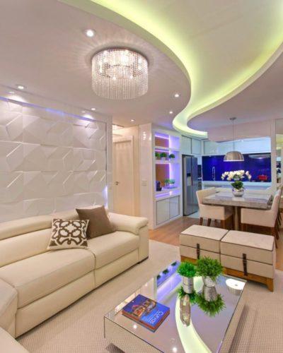 Двухуровневый гипсокартонный потолок со скрытой подсветкой