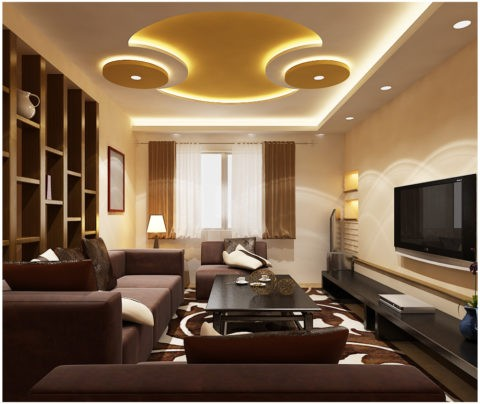 3D-потолок со встроенной точечной и ленточной подсветкой