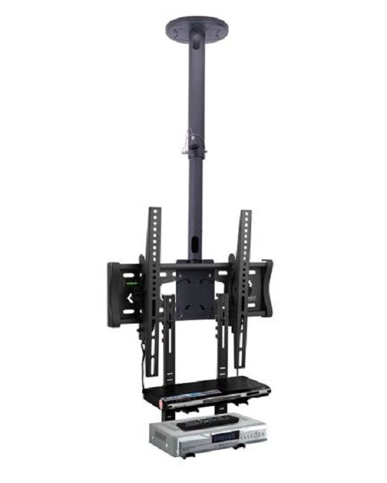 Кронштейн для жк телевизора потолочный с полками под ресивер и DVD плеер