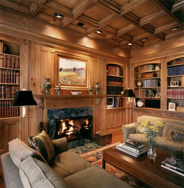 Интерьер кабинета из дерева в английском стиле