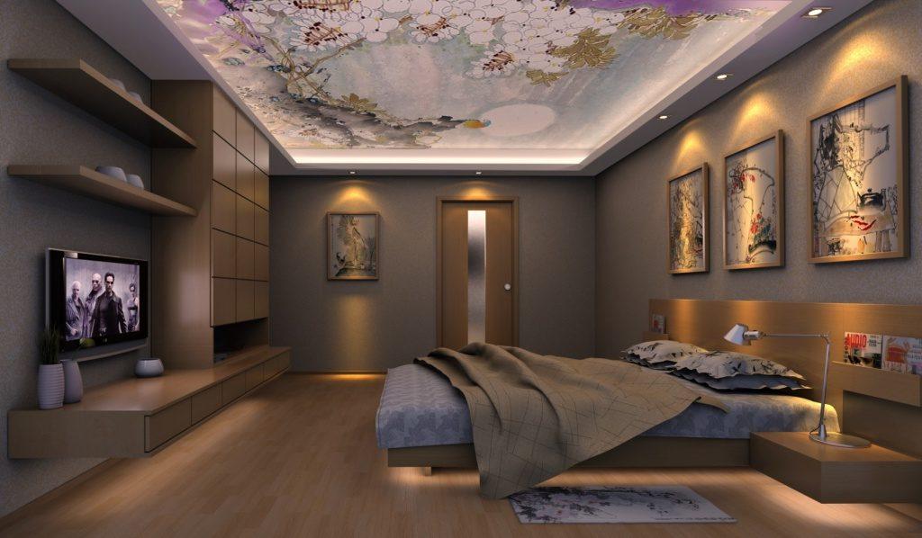 Потолок с фотопечатью, установленный в спальне