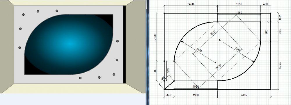 Чертеж двухуровневого потолка в компьютерной программе