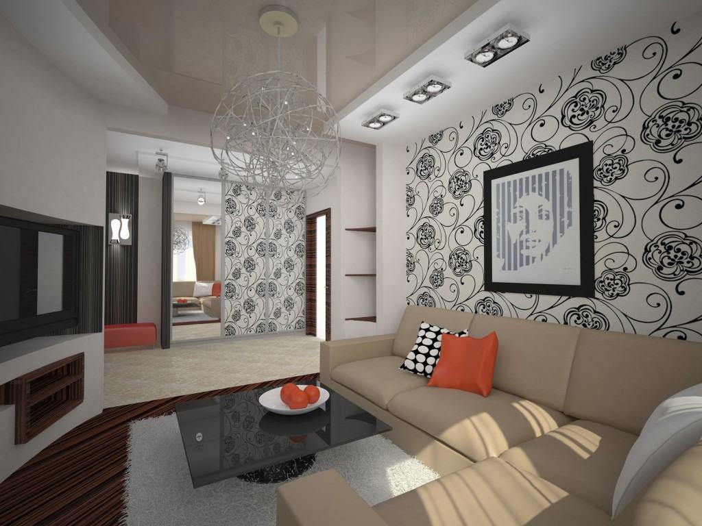 Современный интерьер с комбинированным потолком