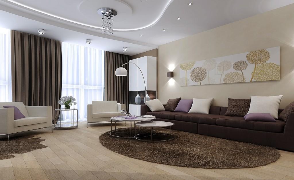 Тканевый потолок в гостиной