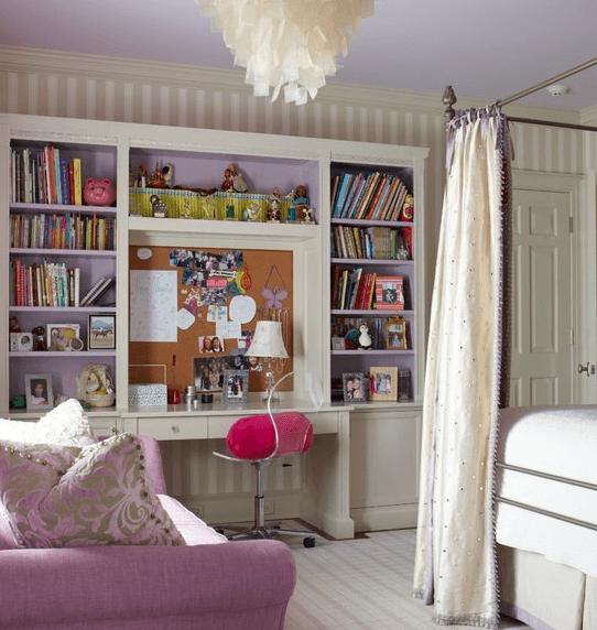 Комната для тинейджера-девочки: легкость рождает сочетание серо-лавандового и бисквитного