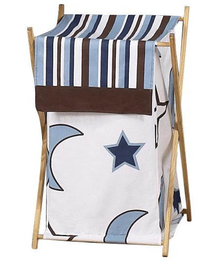 Корзинка для игрушек мальчика (для голубого, коричневого дизайна с декором индиго)