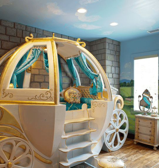 Небесный натяжной потолок и роспись стен для маленькой принцессы